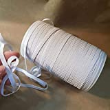 White 1/4 inch Elastic Bands for Sewing, roll