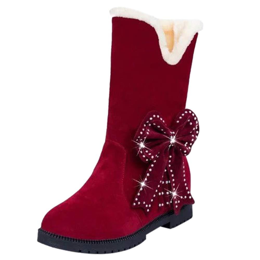 Femme Hiver Bottine Bottes Chaussures Suede Bow Perles Rondes Orteils Talons Glissement Neige Chaud Mode Fille VonVonCo2018080004