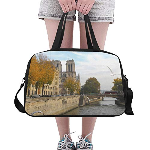 Gym Bags Notre Dame De Paris Beauty Autumn Durable Travel Duffel Bags Sturdy Duffel Handbag Organizer For Girl Kids Dance Camping College Gymsack With Shoe Pounch - Bag Notre Dame Gym