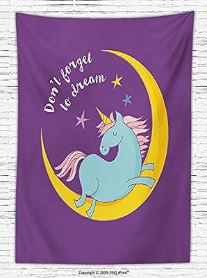 Unicorn Home and Kids Decor Fleece Throw Blanket Dream Quote Print with Unicorn Sleeping on Crescent Moon Art Image Throw Blanket Multi