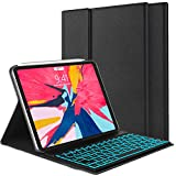iPad Keyboard Case for iPad Pro 11 inch 2018 - Protective Smart Case with Detachable 7 Colors Backlit Wireless Bluetooth Keyboard for iPad Pro 11'' [Support Apple Pencil 2nd Gen Charging] -Black