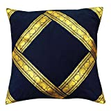 "Velvet Pillow Cover Blue Square Pillow Case Cushion Cover Indian Pillow 24"" X 24"""
