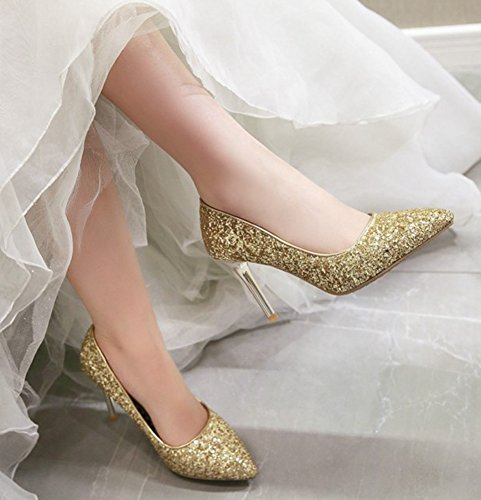 Aisun Womens Sparkly Sequin Pumps - Slip on Low Cut High Heel - Party Wedding Pointed Toe Stilettos Shoes Gold vTSWY