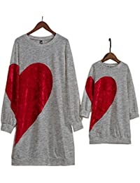 Family Matching Clothing Mom Girl Velvet Big Red Heart Pattern Matching  Dress Black 3be7da2ba