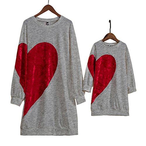 PopReal Family Matching Clothing Mom Girl Velvet Big Red Heart Pattern Matching Dress ()