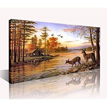 Deer Wall Art Decor Dusk Rustic Wildlife Landscape Canvas Print Picture Country Cabin Hunting Framed Artwork Wall Decoration for Family Bedroom Living Room Home 20x40