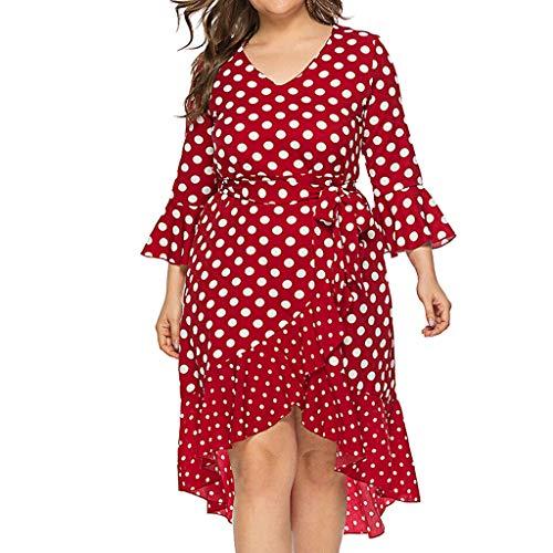 Women Plus Size Dress Fashion Ladies Casual Spaghetti Strap Dot Printed Sashes V Neck Flare Sleeve Bandage Patchwork Mini Irregular Dress