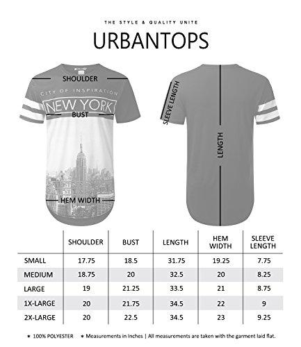 URBANTOPS Mens Hipster Hip Hop City Graphic Longline T-Shirt (Various Styles) 3