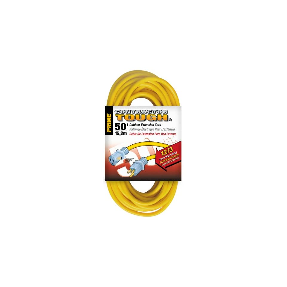 Prime Wire & Cable EC511830 50 Foot 12/3 SJTW Jobsite Outdoor Extension Cord with Prime light Indicator Light, Yellow