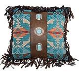 Carstens Concho Southwest Fringe Beaded Decorative Pillow, 18'' x 18'', Multicolor