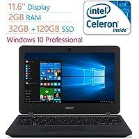 Newest Acer Premium 11.6 HD LED Backlight (1366x768) Display Laptop PC, Intel Dual Core Celeron N3050, 2GB RAM, 32GB eMMc Drive +120GB SSD, Bluetooth, WIFI, HDMI, USB 3.0, Windows 10 Professional