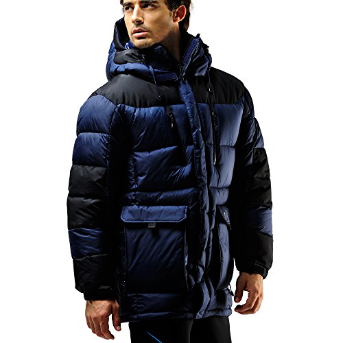 FUERZA Mens Winter Down Wellon Hooded Heavy Duty Parka Jacket Coat (Large, Navy/Black)