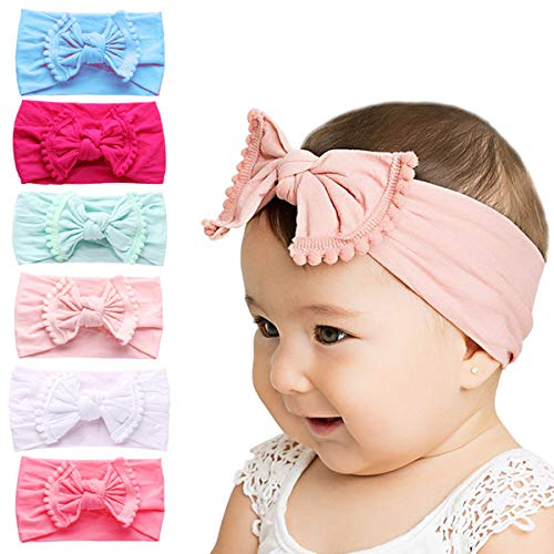 Baby Girl Headbands And Bows - Subesty Nylon Headband Hair Accessories For Newborn Infant Toddlers Kids Set Of 6
