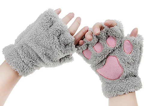 Womens Bear Plush Cat Paw Claw Gloves Soft Faux Fur Winter Warm Fingerless Gloves Mitten Hallowmas Cosplay Costume Christmas Present ()