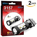 Yorkim Cree 3157 LED Light Bulbs for Brake Lights, Backup Reverse Lights, and Parking Lights - 3056 3156 3057 LED Bulbs with 10 Cree Chips, Voltage 9-30V - Pack of 2, White