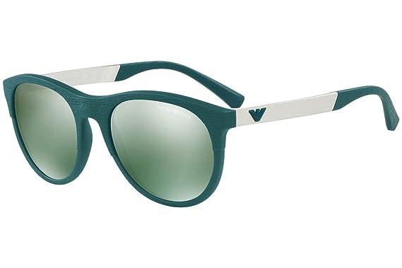 9e82ed4ef973 Emporio Armani EA4084 Sunglasses Matte Petroleum w Green Mirror Gold Lens  55586R EA 4084  Amazon.co.uk  Clothing