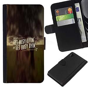NEECELL GIFT forCITY // Billetera de cuero Caso Cubierta de protección Carcasa / Leather Wallet Case for Sony Xperia Z2 D6502 // CONSIGA OCUPADO LIVIN '