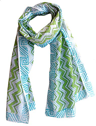Scarfs for women 100% Pure cotton indian traditional design hand block printed mini stall for girls 70x20 inch from Rastogi handicrafts (Scarfs-11) (Scarf In India Made)