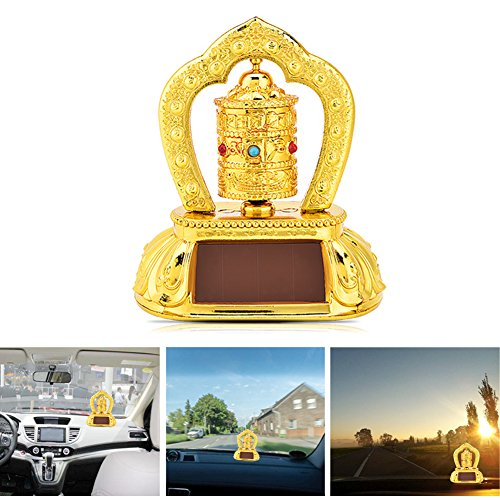 Anauto Tibetan Tibet Buddhist Solar Energy Spinning Prayer Wheel for Car Interior Decoration by Anauto