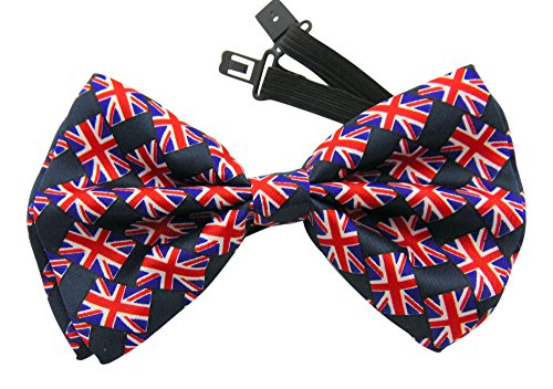 (Union Jack British UK Flag Bowtie Pre-tied Adjust Satin Party Bow)