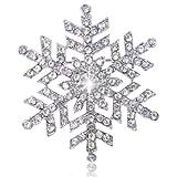 EVER FAITH Silver-Tone Christmas Winter Snowflake Flower Clear Austrian Crystal Brooch