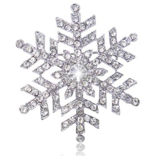 EVER FAITH Austrian Crystal Bridal Elegant Snowflake Flower Brooch Clear Silver-Tone Clear Crystal Snowflake