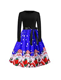 FarJing Christmas Dresses for Women O Neck Printing Vintage Gown Evening Party Dress