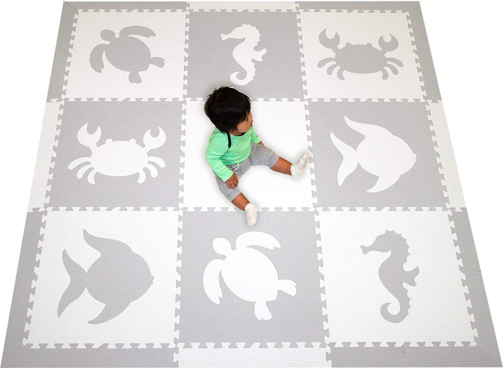 SoftTiles Sea Animals Interlocking Foam Play Mat with Sloped Borders. Soft Flooring for Playrooms and Nurseries- Large 6.5 x 6.5 ft.- (Light Gray, White) SCSEAWH by SoftTiles