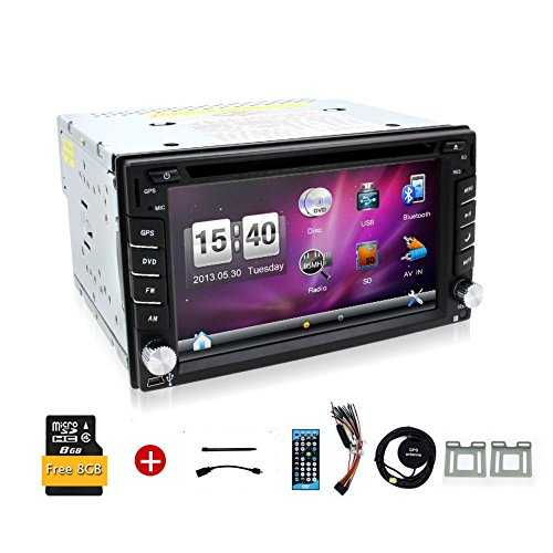 2016 Newest 6.2-inch Double DIN Car Gps Navigation in Dash Car Dvd Player Car Stereo Touch Screen with Bluetooth USB Sd Mp3 Radio for Universal Car Free GPS Navigation map card