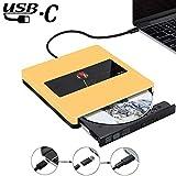 External CD DVD Drive USB3.0 NOLYTH USB C Superdrive CD DVD Burner Player Writer Optical Drive Compatible with Apple Mac MacBook Pro Air iMac Laptop and windows10 (Gold)