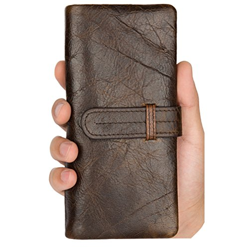 Price comparison product image NiceEbag Retro Genuine Leather Large Capacity Multi-Card Bifold Wallet Purse for Men