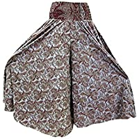 Mogul Womens Palazzo Brown Printed Casual Wear Silk Maxi Gypsy Skirt