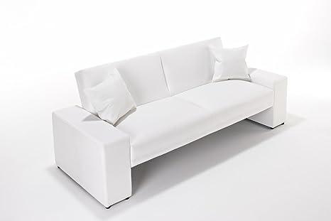 Sofá cama Supra en todos los colores, de piel sintética, 2 plazas, piel sintética madera, Blanco, Dos asientos