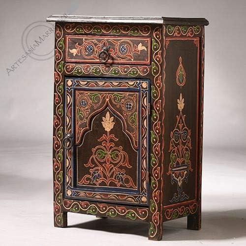 Mesa marroquí de Color marrón con Dibujos de Colores. Fabricado en ...