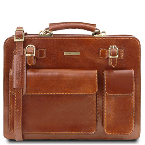 Tuscany Leather - Venezia - Leather briefcase 2 compartments Honey - (Two Compartment Briefcase)