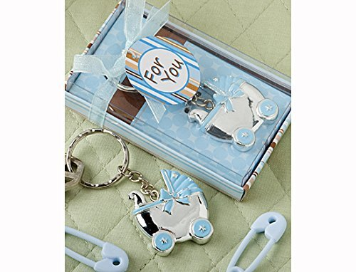 Blue Baby Carriage Design Key Chains (Quantity - 60) Baby Carriage Key Chains