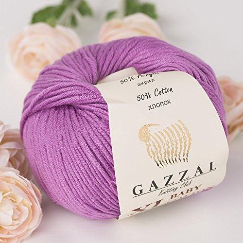 3 Pack (Ball) Gazzal Baby Cotton XL Total 5.28 Oz / 344 Yrds, Each Ball 1.76 Oz (50g) / 246 Yrds (225m) Super Soft, DK- Worsted Baby Yarn, 50% Turkish Cotton, Purple - 3414