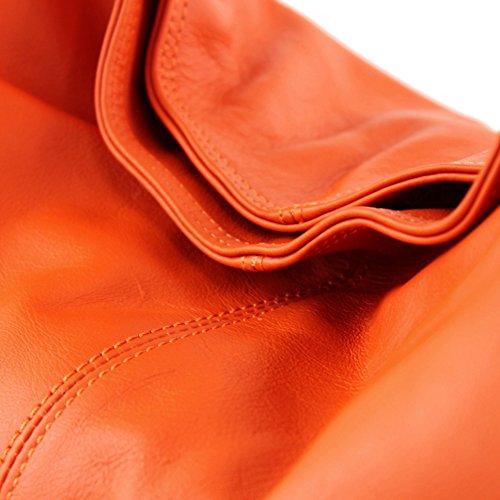 mujer Orange de hombro al Bolso cuero para Made Italy q0IB8