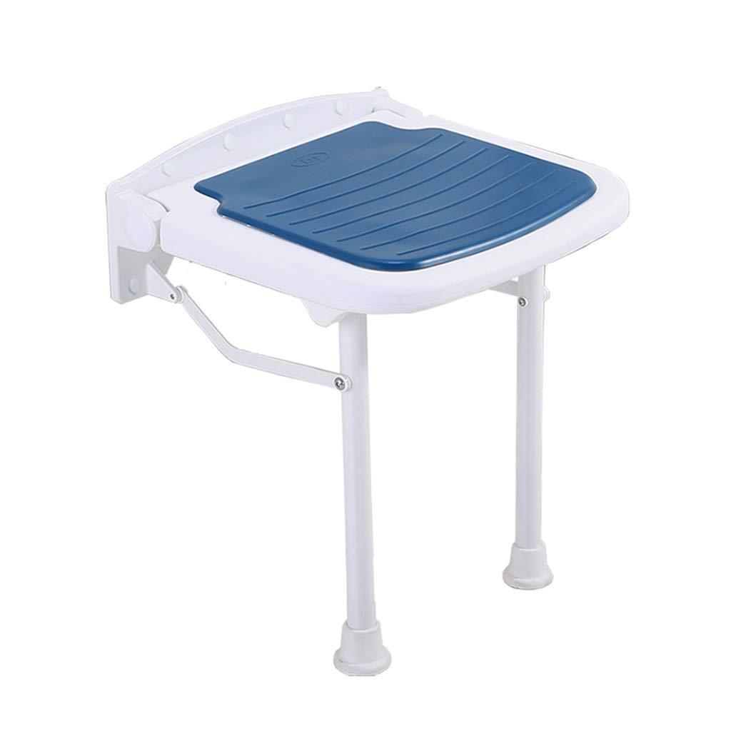 シャワースツールバススツールバスルームシート折りたたみ壁掛け抗菌モバイル補助スツールシャワーシート浴室パンチング最大(多色) (色 : 青) B07JLHYFKC 青 青