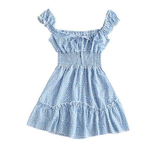 ZAFUL Women's V-Neck Sleeveless Smocked Printed Drawstring A Line Dress (Light Blue, M)