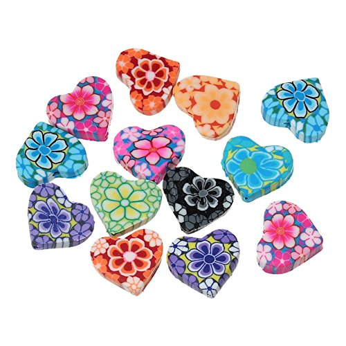 50PCS Mixed Polymer Clay Flower Printed Heart Beads Charm for DIY Jewelry Making Findings 15x13mm Clay Flower Spacer