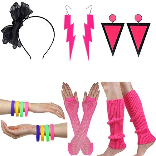 Mardi Gras Themed Outfits (Women's 80s Costume Long Fishnet Gloves Neon Earrings Beads Leg Warmers Stripes Stockings (E))