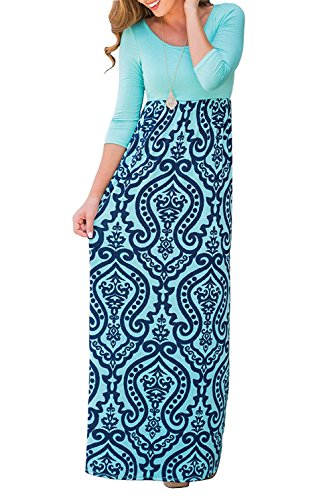 Dress 4 Long Maxi Empire Sleeve Women's KABUEE 3 with Floral Blue Print Casual Pockets Waist tWSPWZqvw