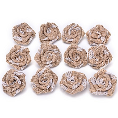 10 Pcs Handmade Jute Hessian Burlap Flower With Lace Rose Hat DIY Craft rustic wedding decor vintage By Crqes