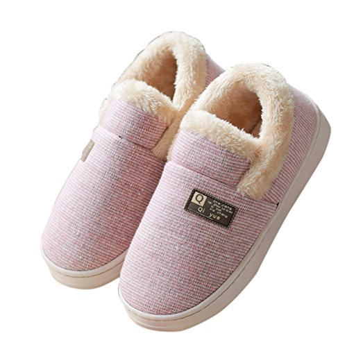 AGOWOO Womens Fuzzy Thermal House Booties Slippers Pink EzXc5