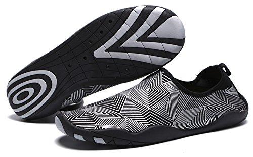 RENZER Wasserschuhe Leichte Schwimmhaut Aqua Socken Schuhe Slip-on für Strand Web-Silber