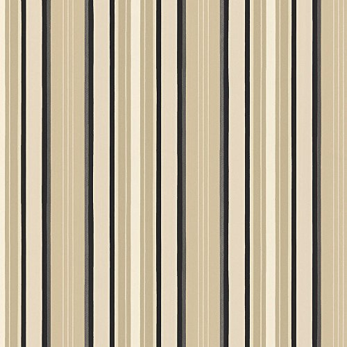 ured Stripe Wallpaper in Beige, Cream, Black - 2 Rolls (Traditional Stripe Wallpaper)