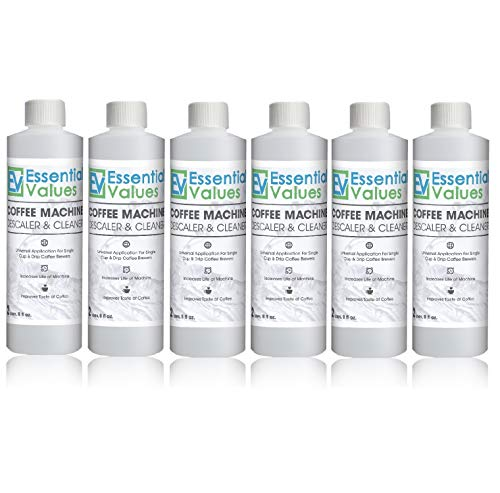 Essential Values Universal Descaling Solution (6 Pack / 12 Uses), Designed For Keurig, Nespresso, Delonghi and All Single Use Coffee and Espresso Machines - Proudly Made In USA