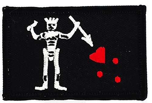Toppa Ricamata Bandiera Pirata Jack Rackham Testa di morte Barba Nera Teach Akacha