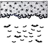 ZLIXING Indoor Halloween Decorations Lace Spiderweb - Halloween Lamp Shade Cover Topper, Curtains Valances for Windows, Fireplace Mantel Scarf Halloween Decor for Home with Bat Stickers, 20 x 60 inch